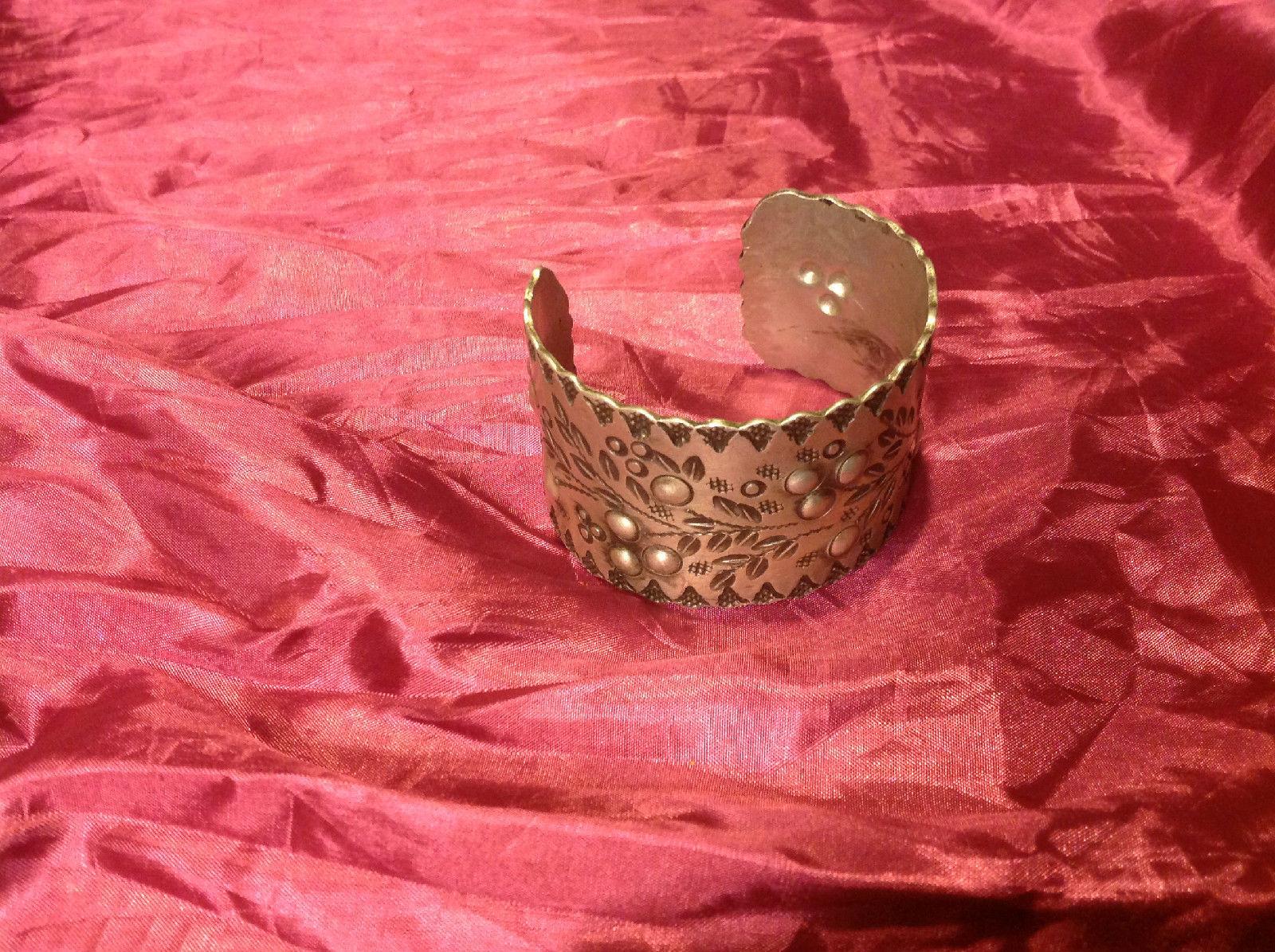 Gorgeous silver colored bracelet vintage aluminum engraved cuff