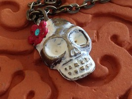 Handpainted Day of Dead Sugar Skull small pendant necklace Gleeful Peacock image 9