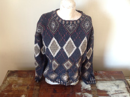 House of Walsh Hand Knitted Dark Blue Green with Diamonds Sweater Size Medium