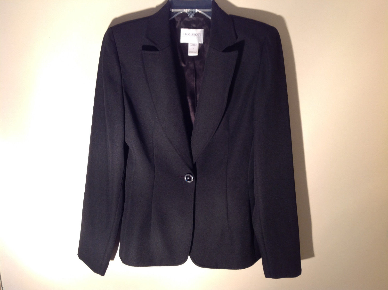 Hugo Buscati Pure Black Formal Jacket Blazer One Front Button Size 4
