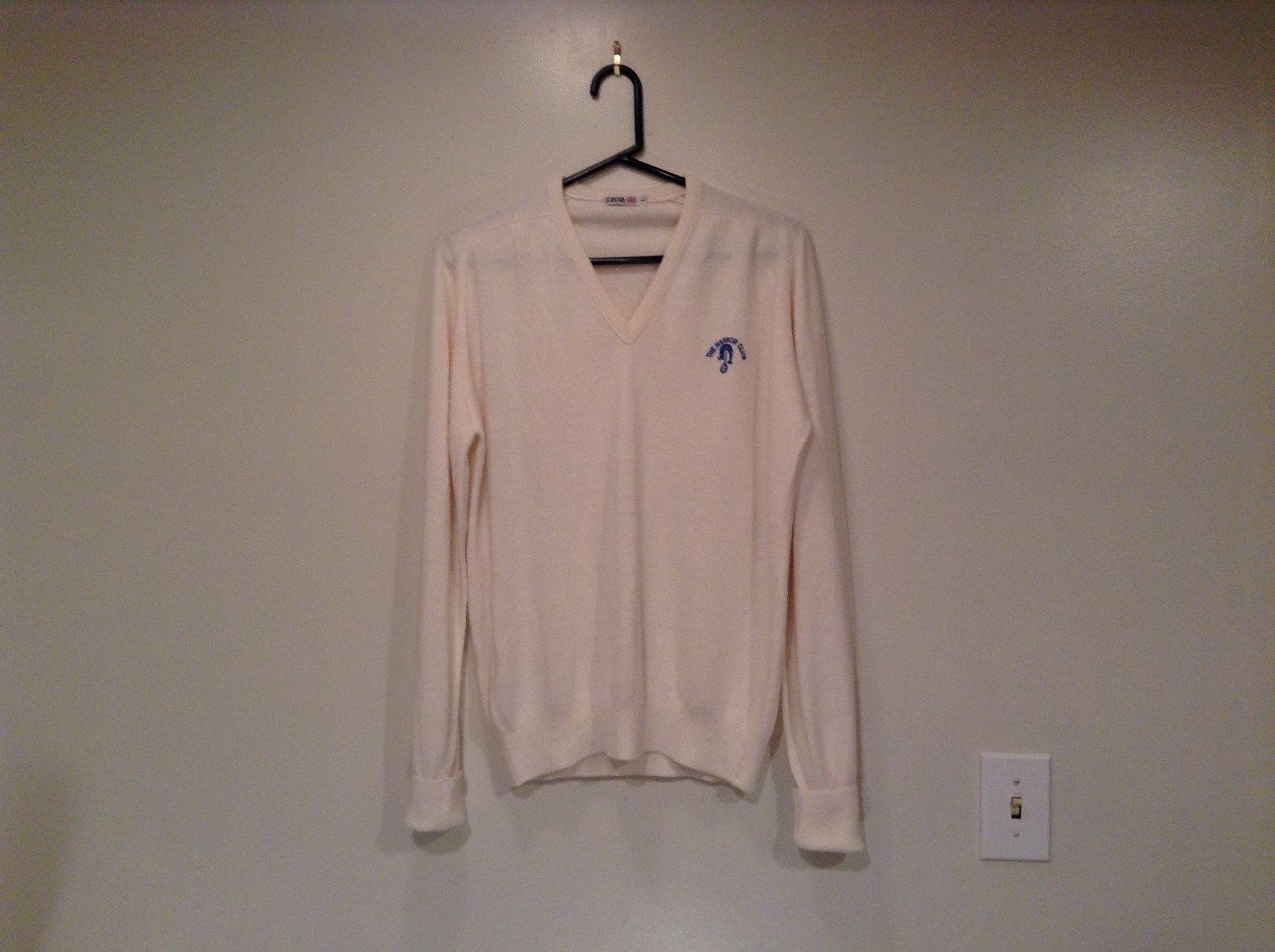 IZOD White V Neck 100 Percent Acrylic Long Sleeve Sweater Size Large No Tags