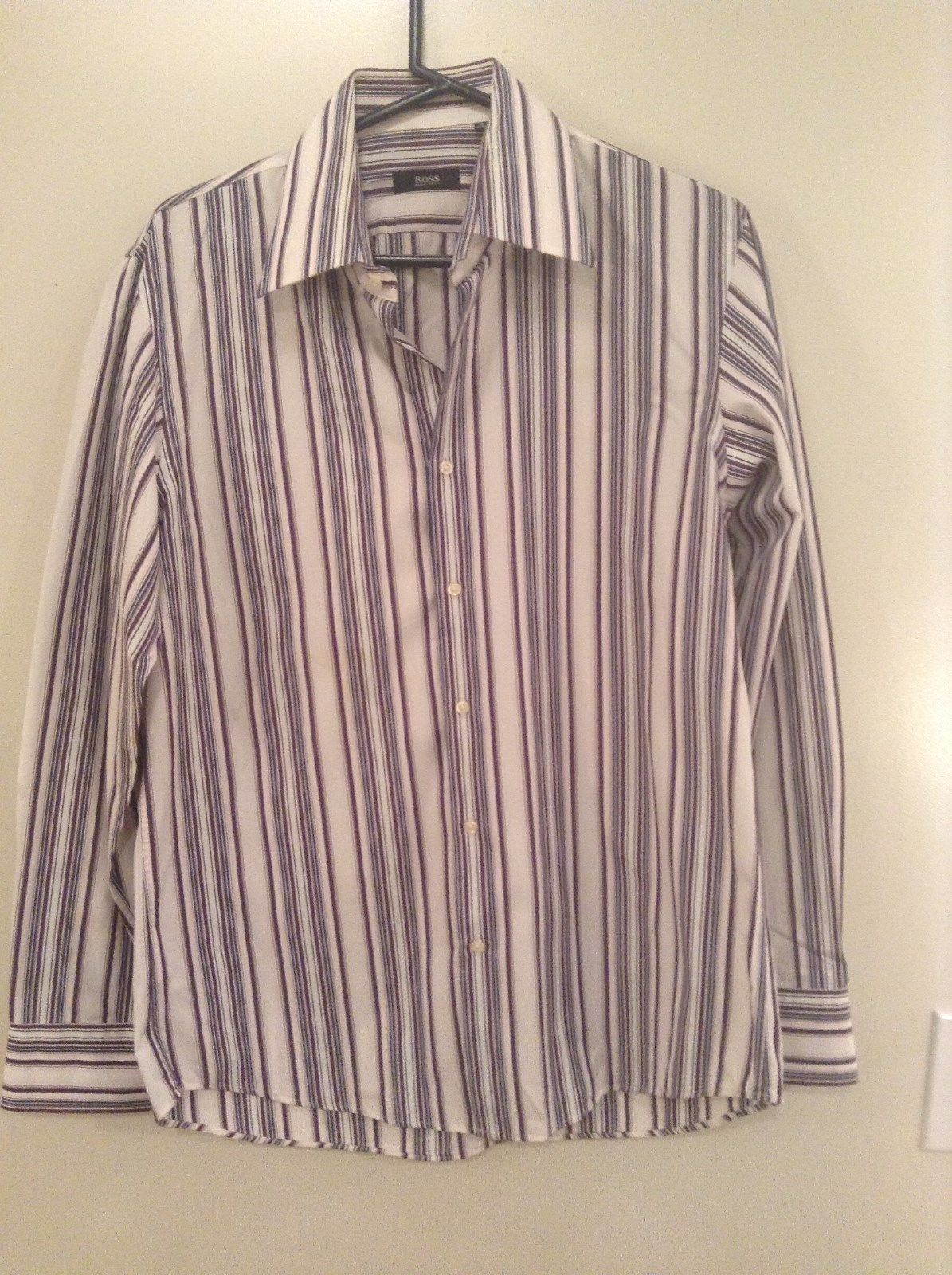 Hugo Boss Blue Pink Red White Striped Button Up Long Sleeve Shirt Size 16 by 34