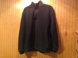 IZOD Sweater/Fleece Dark Green Solid Color Zip Up Sport Size L