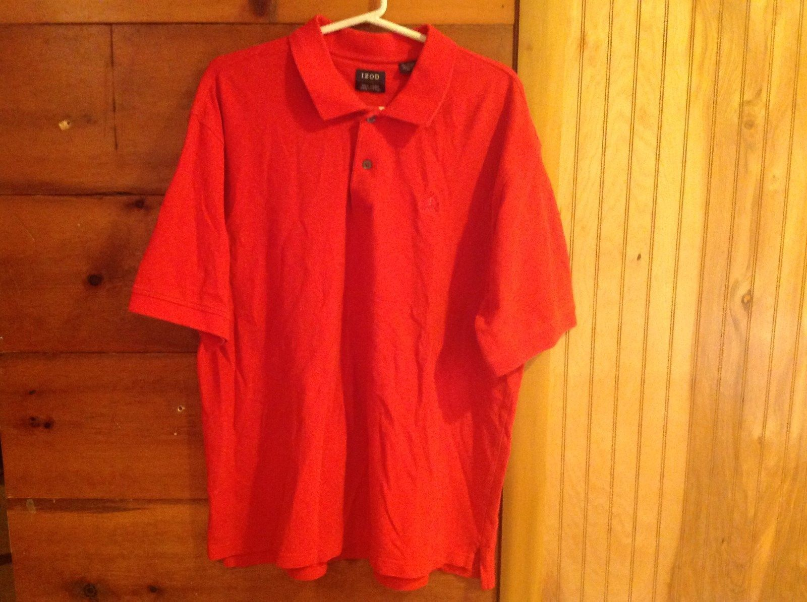 IZOD Red Polo Casual Shirt Silk Wash 100 Percent Cotton Size XL Short Sleeves