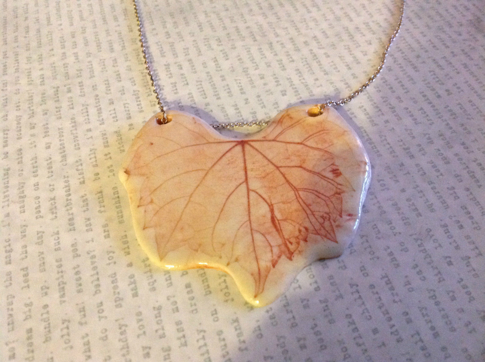 Grape Leaf Flat Ceramic Handmade Pendant Necklace Sterling Silver Chain