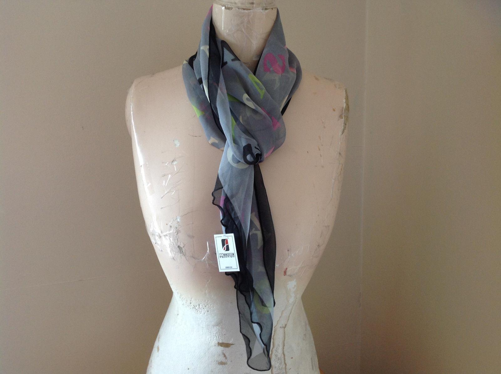 Gray Black Green Pink Alphabet Fashion Scarf Light Weight Material Fennysum