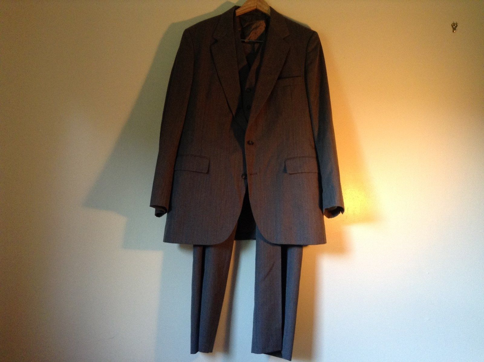 Gray American Trend 3 Piece Suit Vest Jacket and Pants Measurements Below