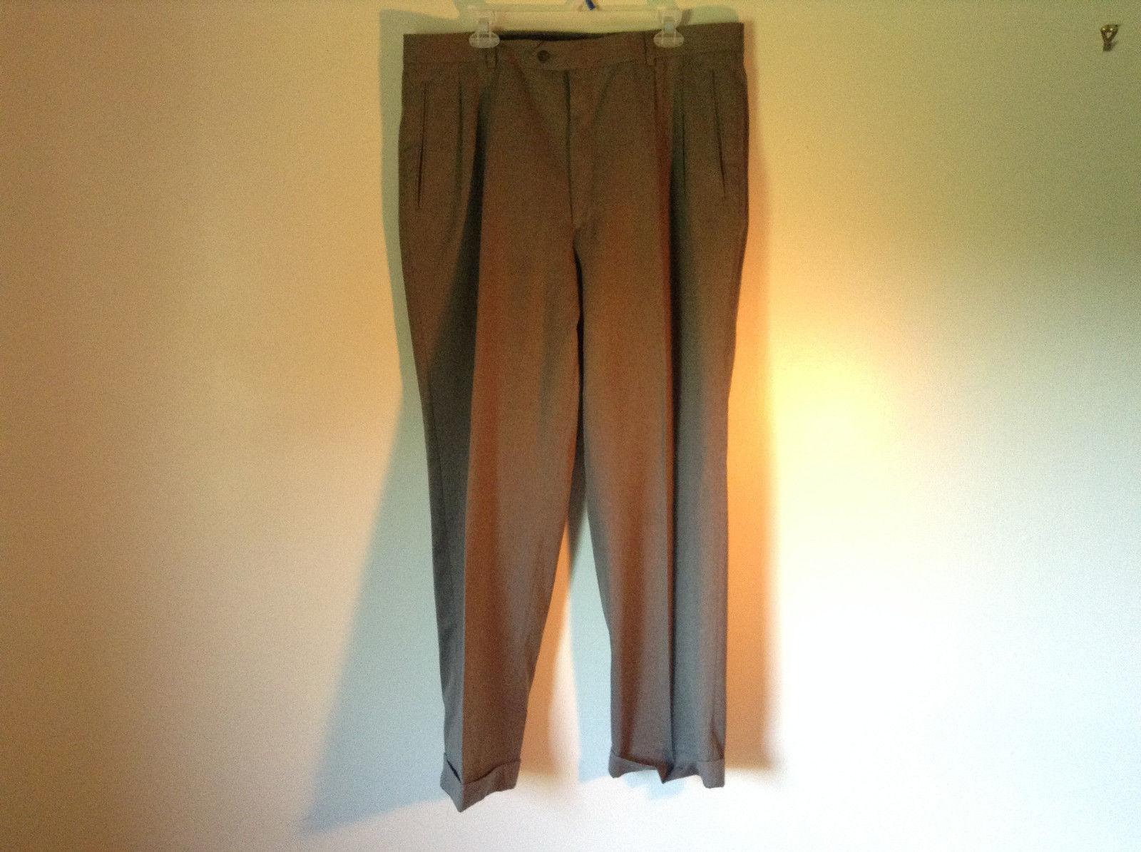Gray Brown Pleated Dress Pants Louis Raphael Soft Size 38 Zipper Button Closure