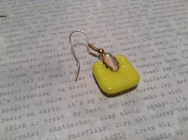 Glass Shiny Metallic Square Earrings Yellow with Multicolored Enamel Mixed Metal image 6
