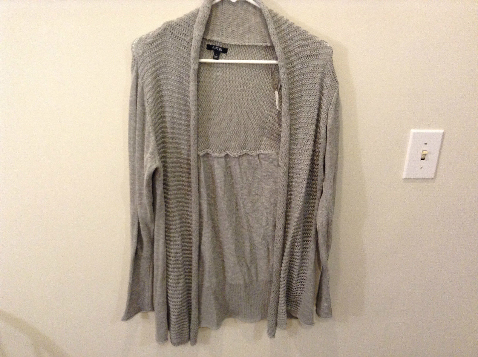 Gray Knitted Pattern Long Sleeve Long Cardigan Apt 9 Size Large Open Front