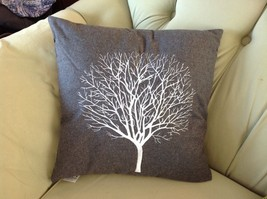 Gray Holiday Decorative Embroidered pillow with winter tree silhouette 16 inch