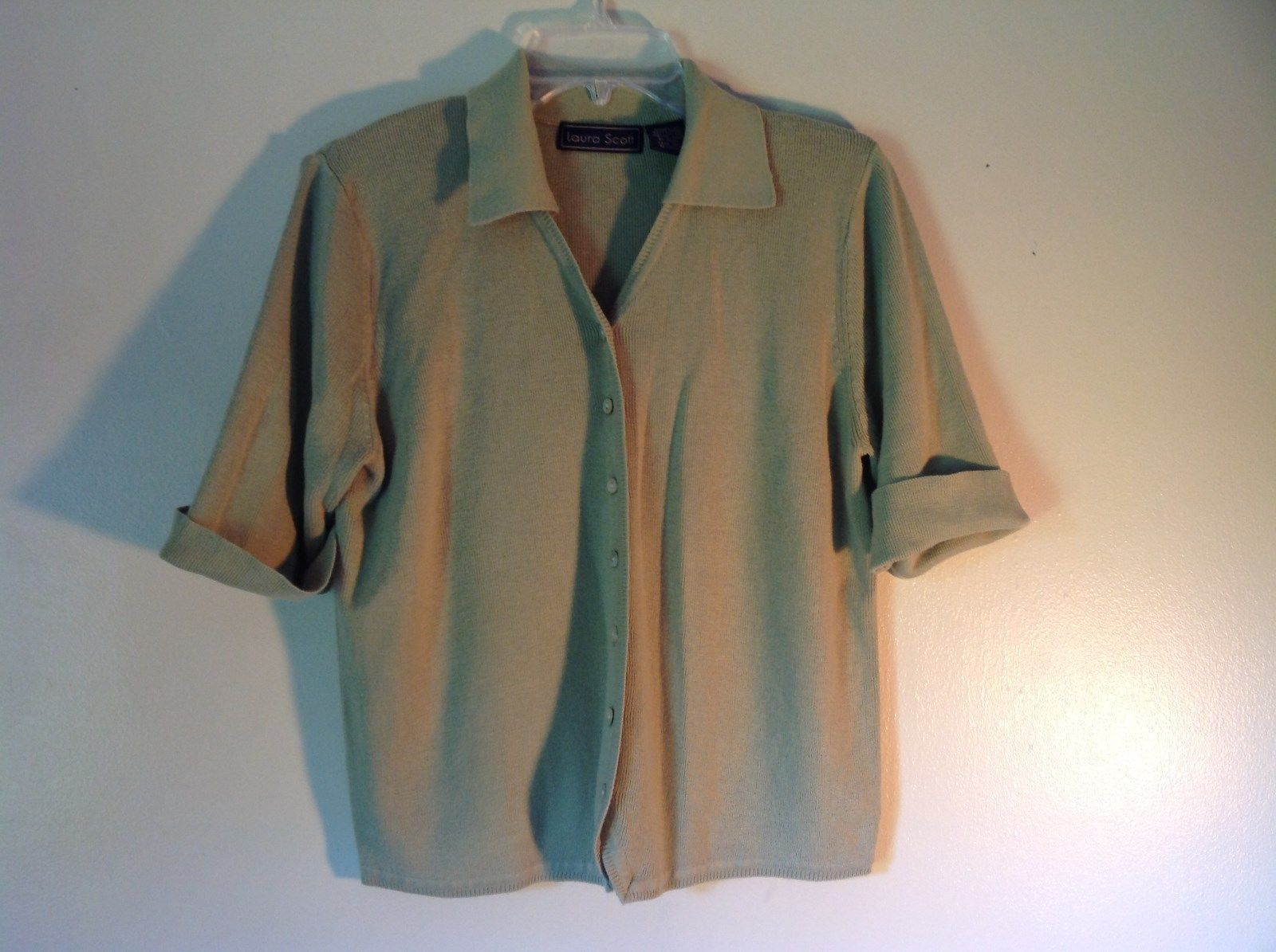 Gray Laura Scott Size Large Button Up Short Sleeve Collared Sweater