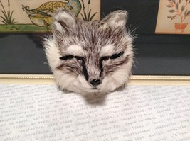 Gray Furry Fox Head Magnet Made with Recycled Rabbit Hair by Lifes Attractions