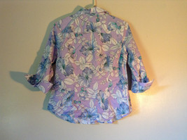 Hawaiian Style Button Down Shirt by Van Heusen Purple Two Front Pockets Size M image 4