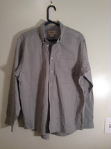 Gray Eddie Bauer Button Front Long Sleeve Cotton Shirt Size M Wrinkle Resistant