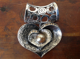 Heart Shaped Silver Tone Scarf Pendant with Tan Beads and Crystals Magic Scarf image 2