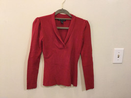 International Concepts Red Long Sleeves V-neck Blouse, bunched shoulders, Size S