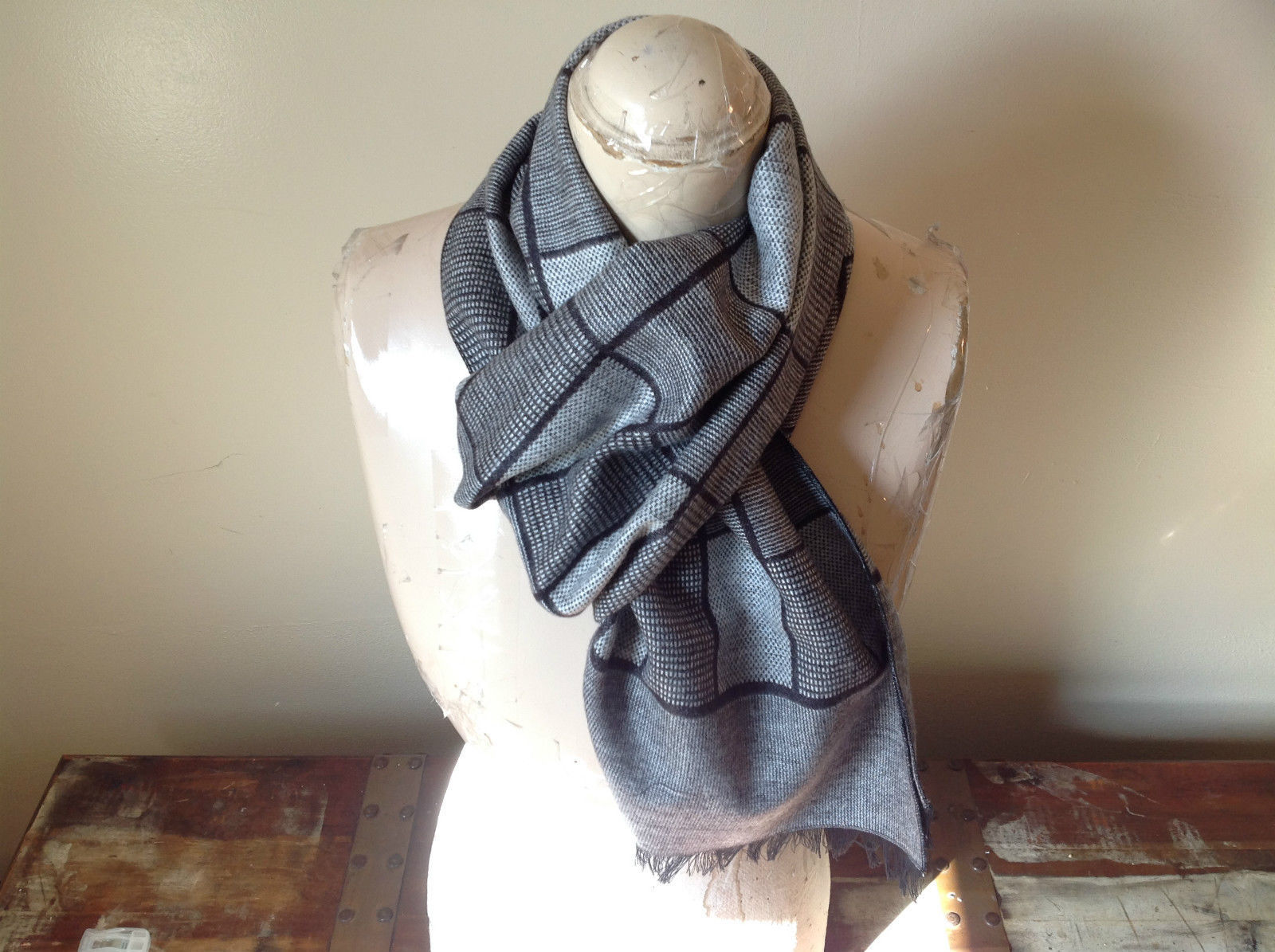 Gray Plaid Enso Scarf Mad About Style 100 Percent Viscose NEW WITH TAG