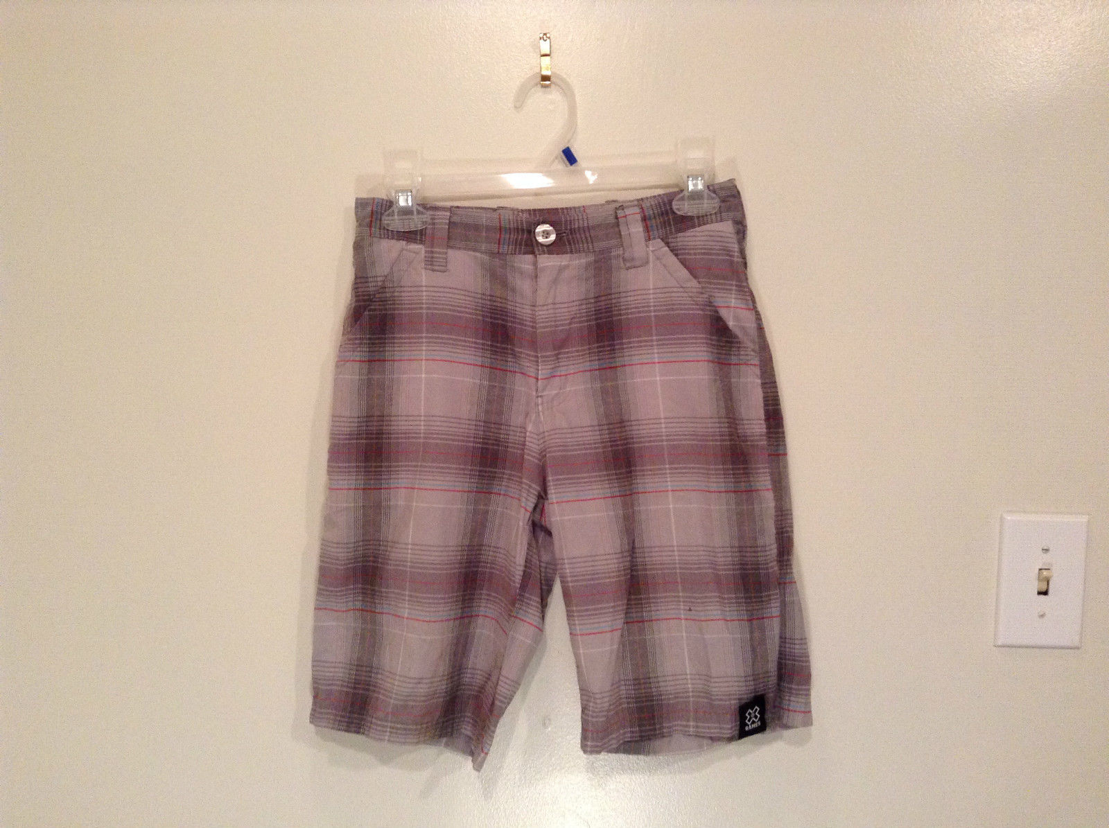 Gray Plaid Shorts by Games Size 12 Side and Back Pockets Button Zipper Closure