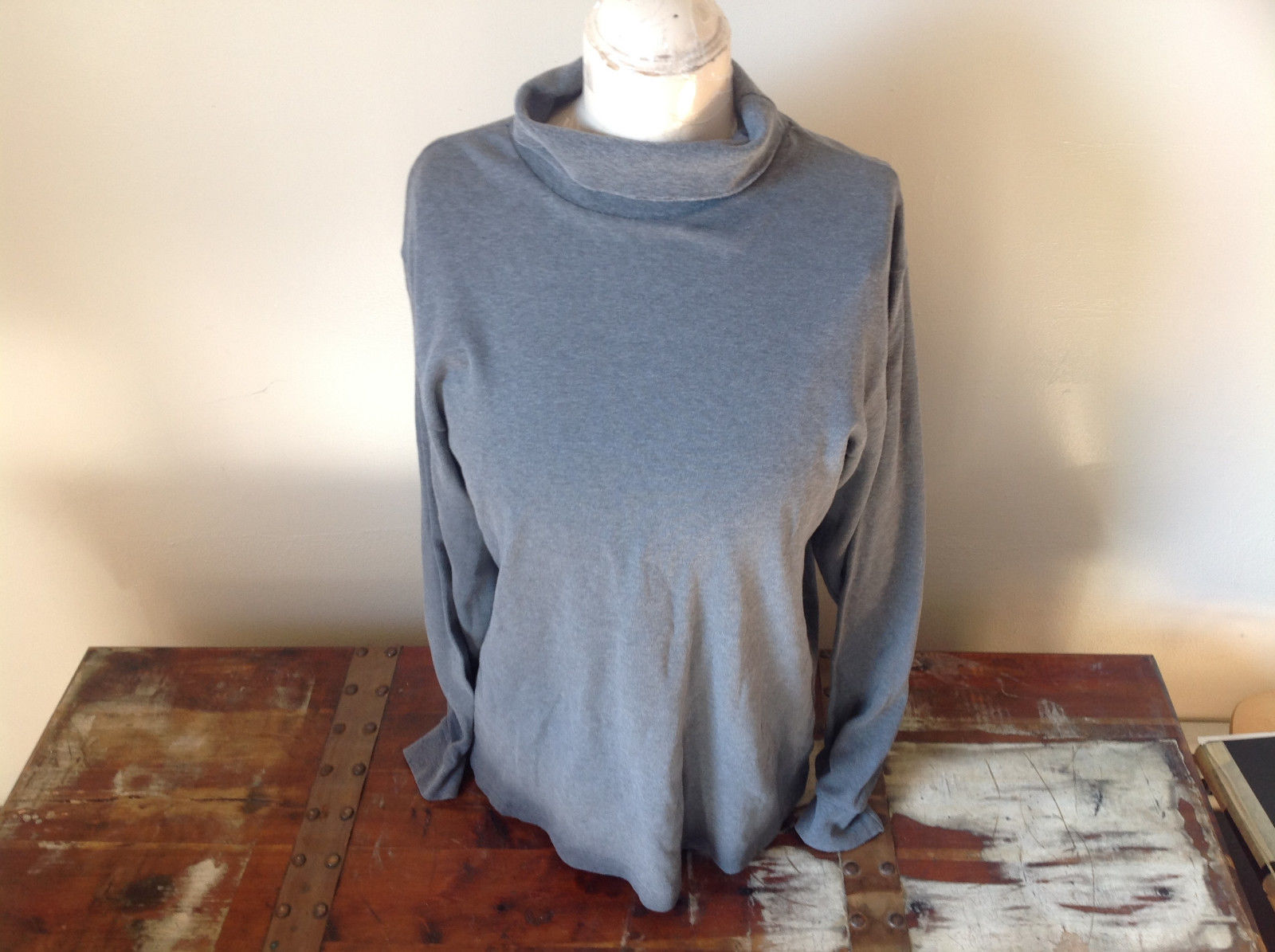 Gray Long Sleeve Turtleneck Stretchy Shirt L L Bean Size and Measurements Below
