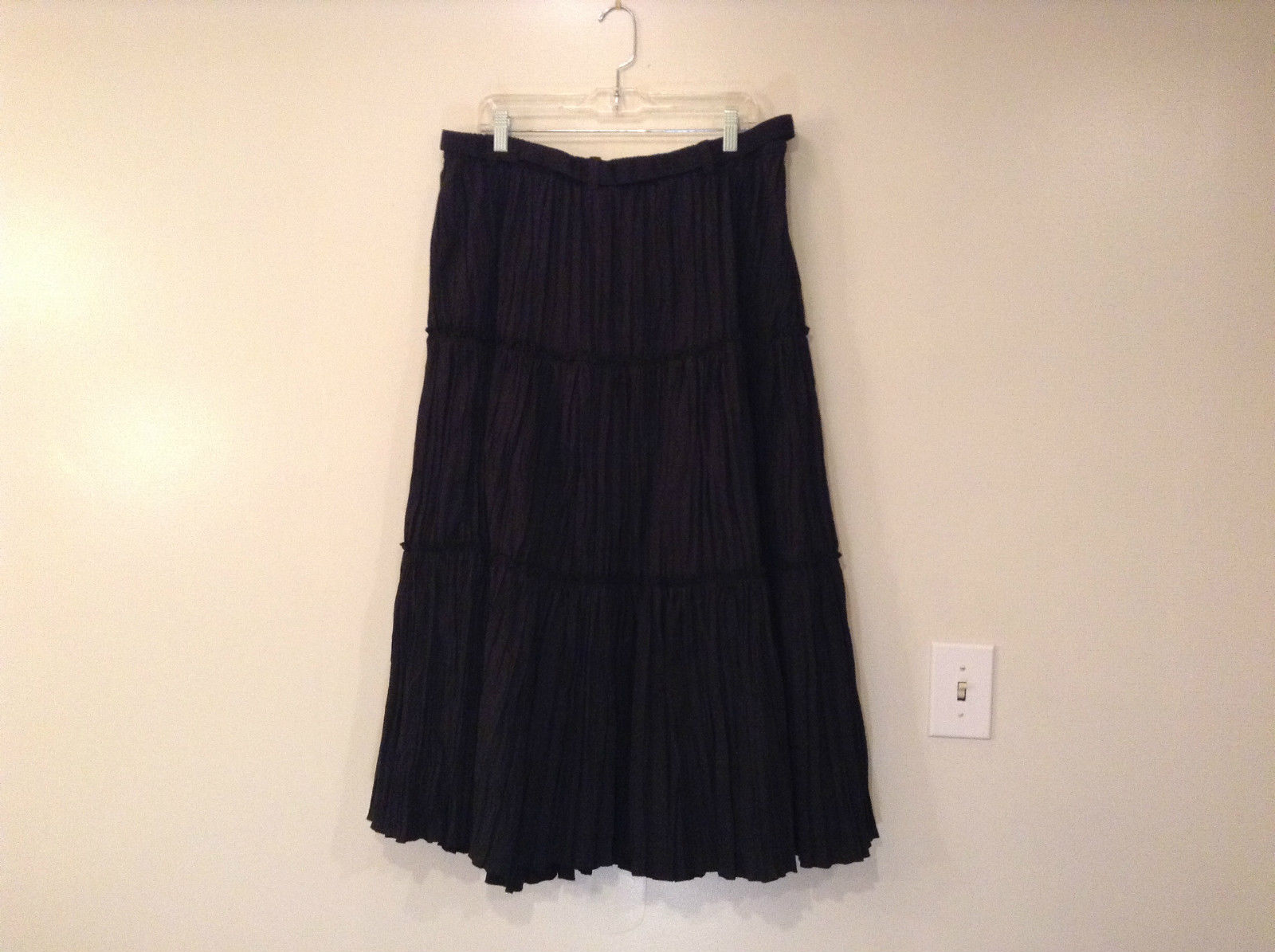 Isaac Mizrahi Black Pleated Skirt with Belt Size XXL Elastic Waist