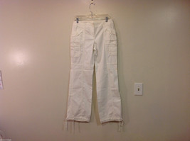 International Concepts White Casual Pants with Pockets and PEACE sign, Size 6 image 1