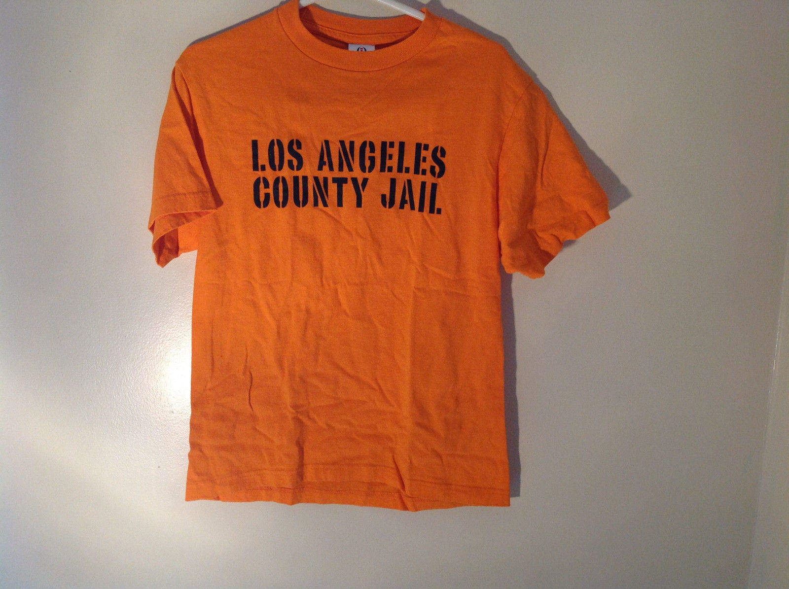 Intex Bright Orange Short Sleeve T-Shirt Los Angeles County Jail on Front Size M