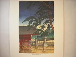 Japanese Color Woodblock Reprint 1932 Spring Rain at Gokoku Temple