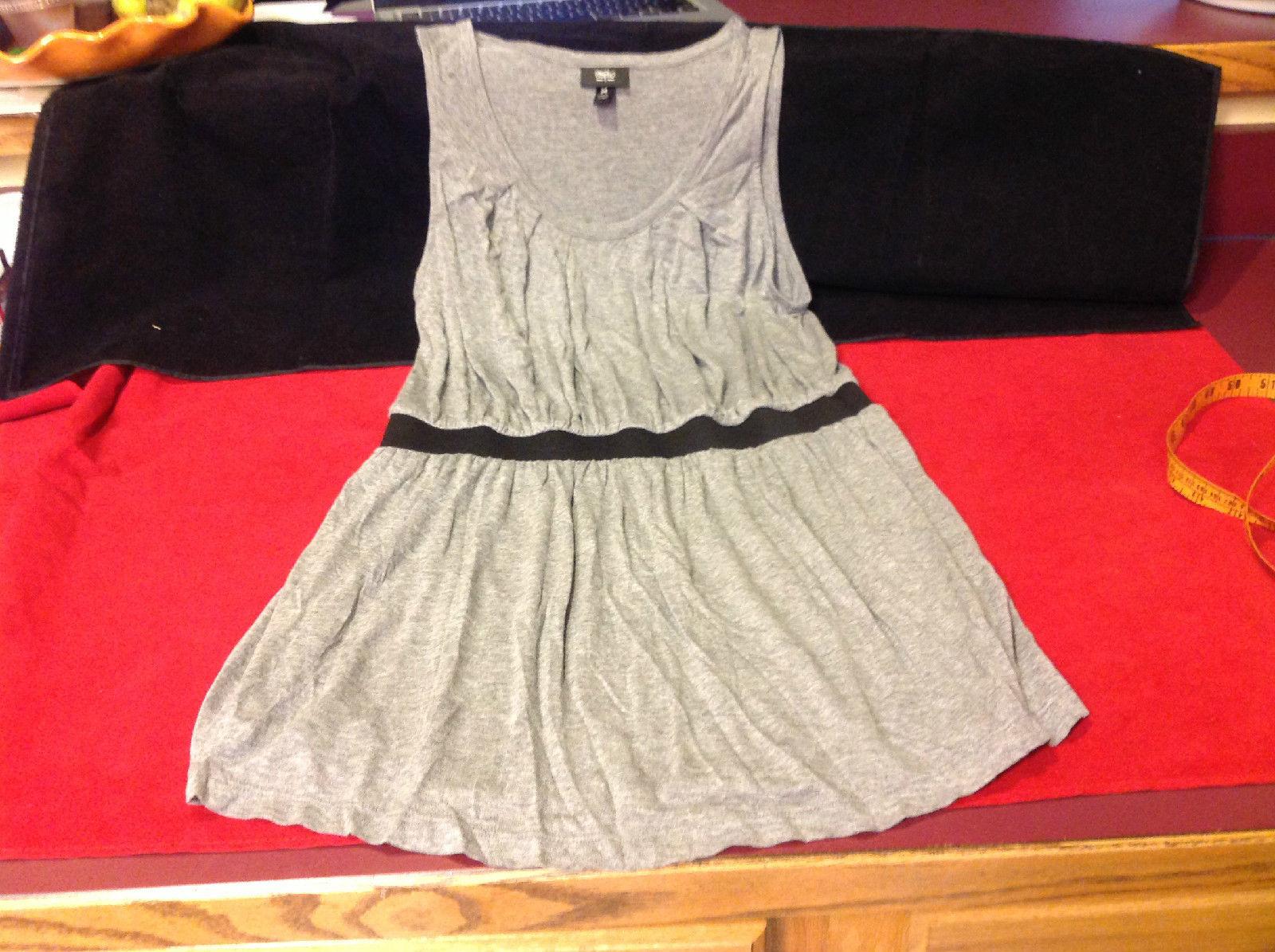 Intessio Ladies Short Heather Gray Sleeveless Dress with Black Belt Size Medium