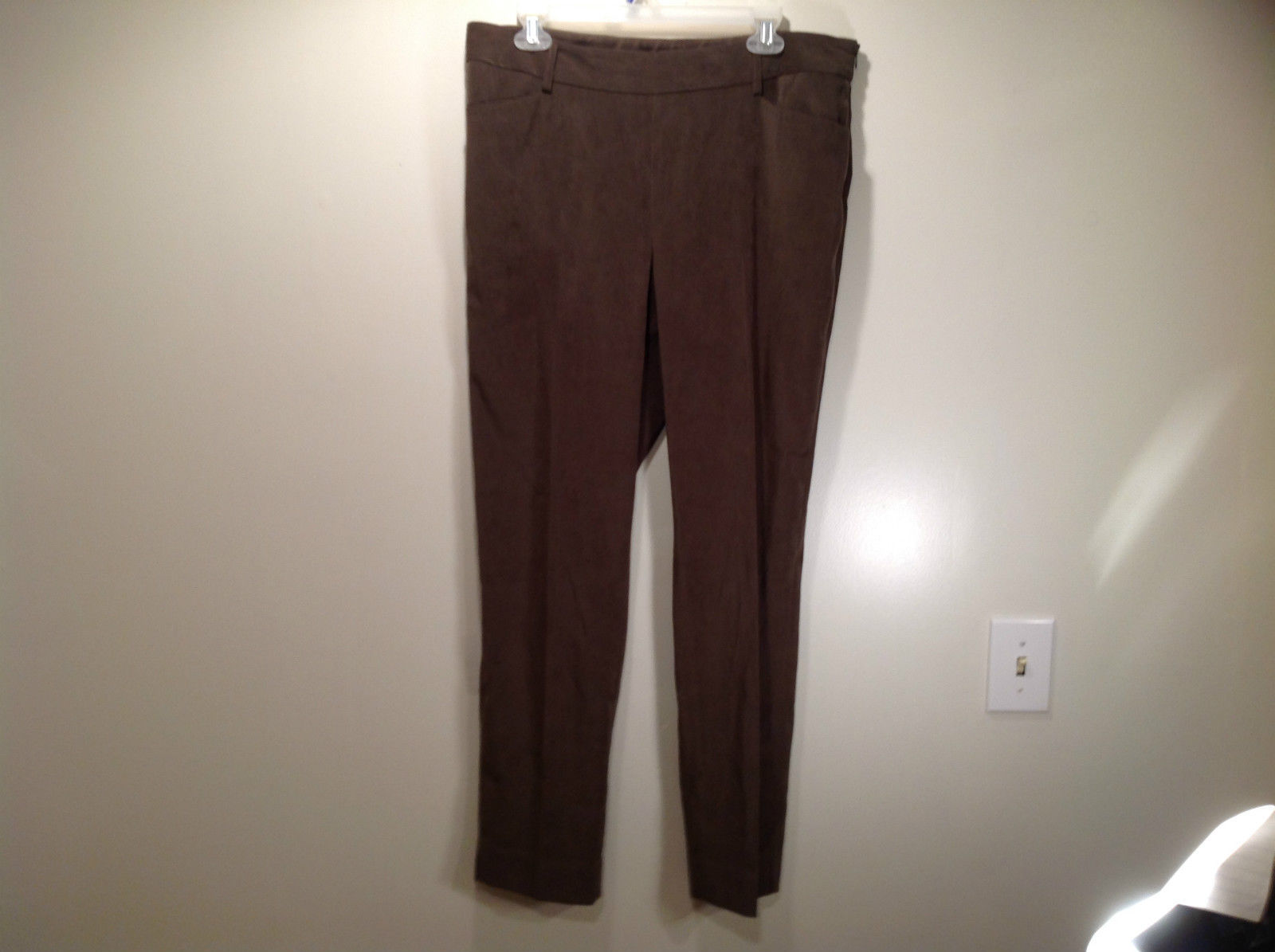 J McLaughlin Size 14 Dark Green Brown Side Zipper Closure Casual Pants USA