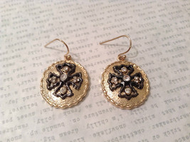 Gold Plated Round Cross CZs Dangling Earrings image 2