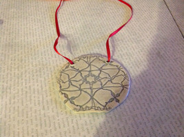 Gray Round Graphic Handmade Flat Ceramic Ornament or Wall Decoration Red Ribbon - $39.99