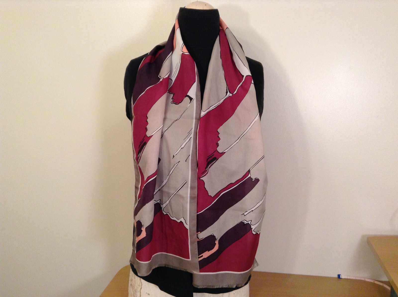Gray Purple Pink Abstract Print Scarf 100 Percent Polyester Made in Italy