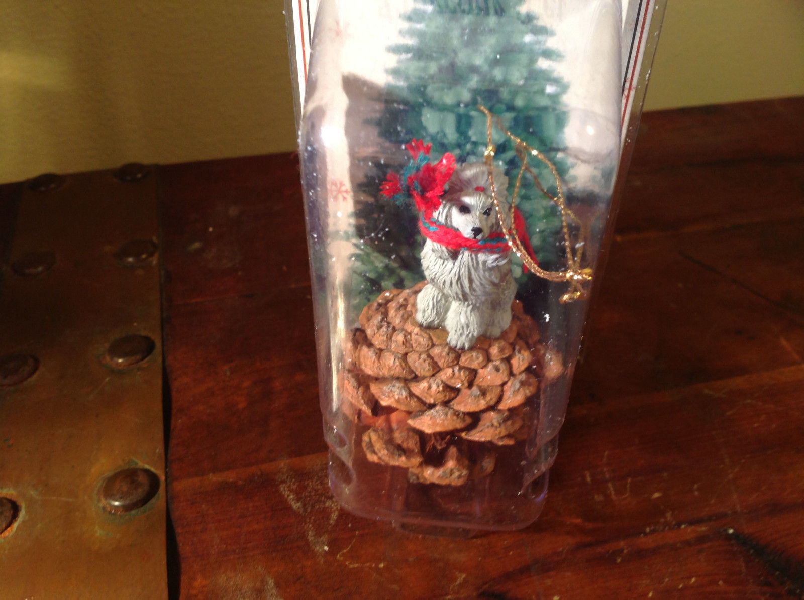 Gray Poodle with Scarf Real Pine Cone Pet Pine Cone Christmas Ornament