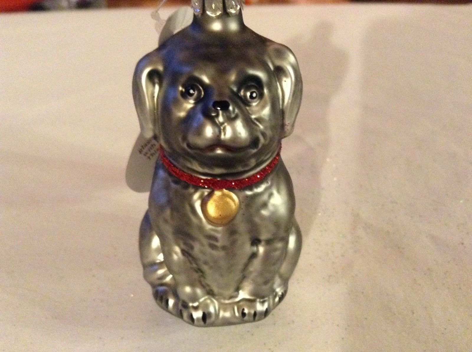 Gray dog w sparkle red collar Glass Holiday Tree Ornament Old German Christmas