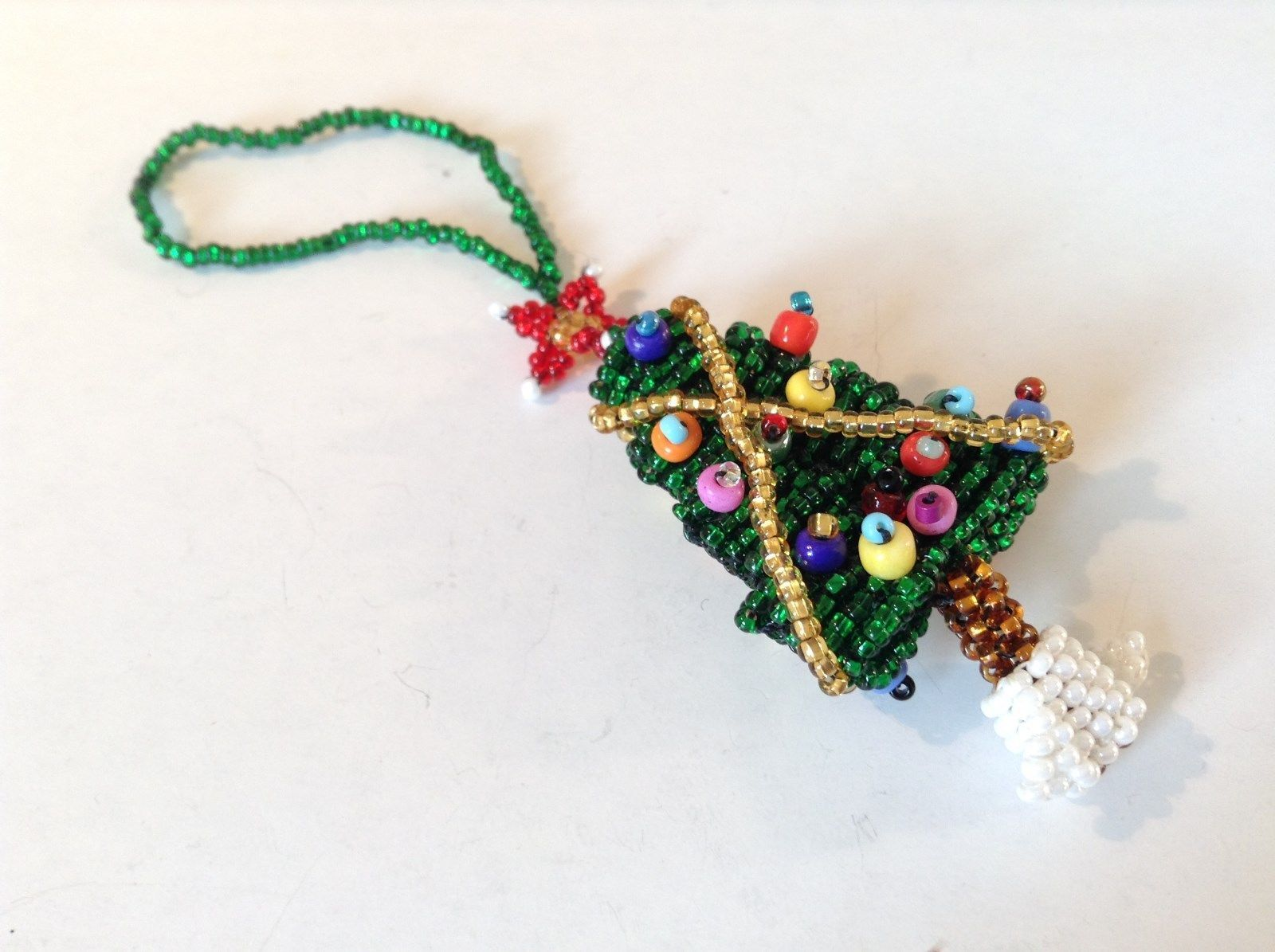Green Beaded Handmade Tree Shaped Christmas Tree Ornament with Star