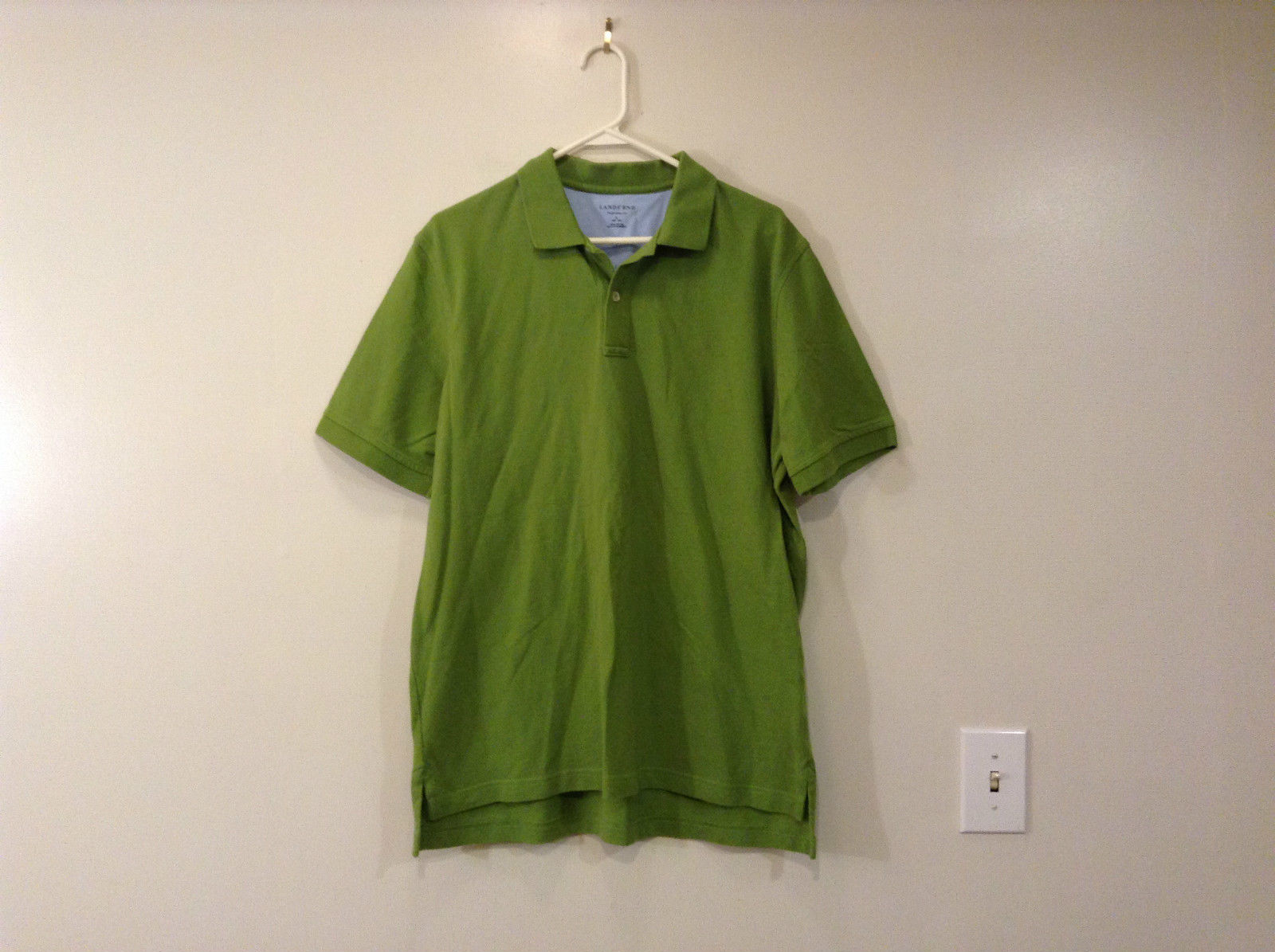 Green 100 Percent Cotton Lands End Polo Shirt Size L 42 to 44 Short Sleeves