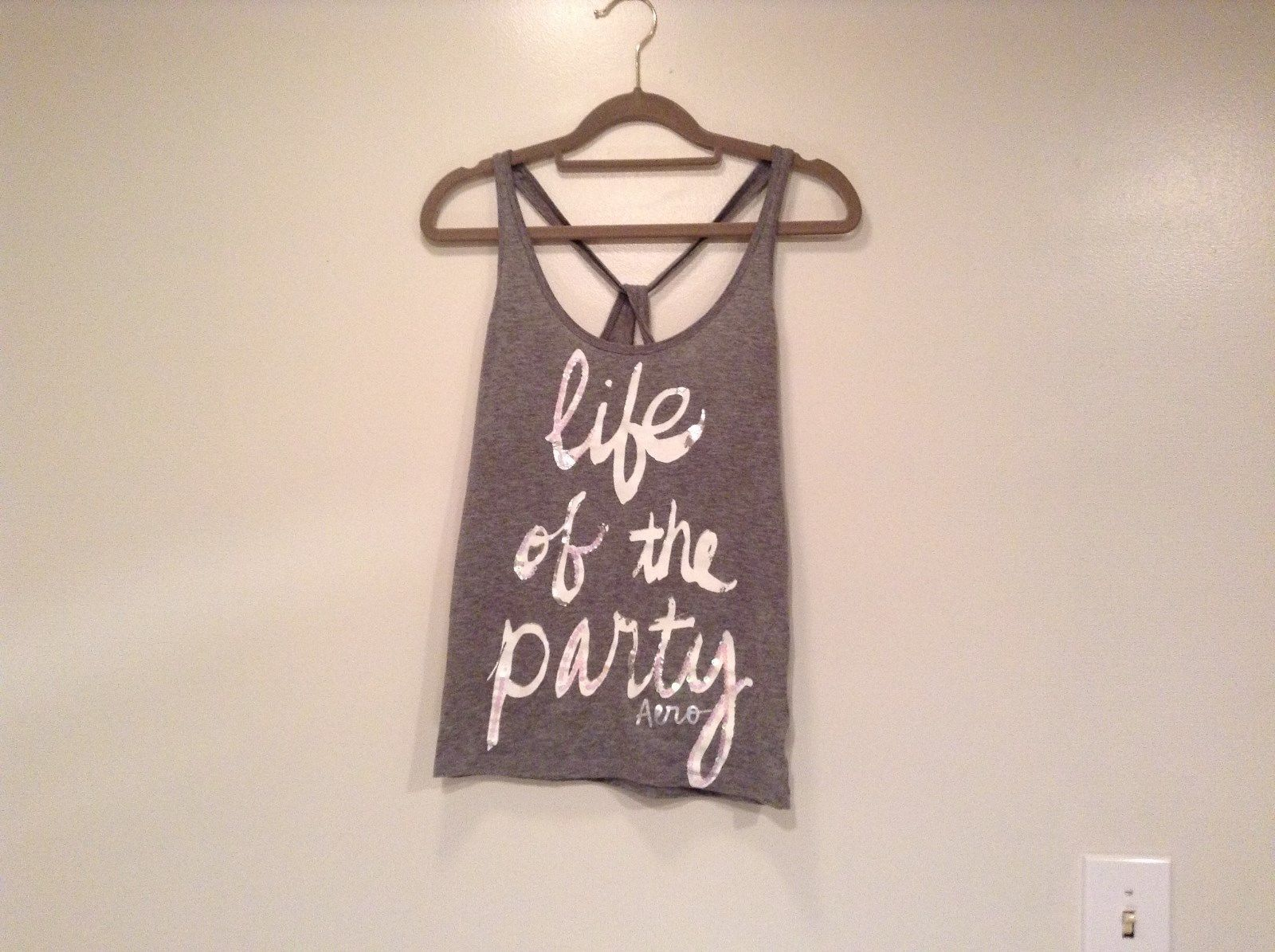 Gray with White Letters Life of the Party AERO Tank Top Size XL Cotton Blend