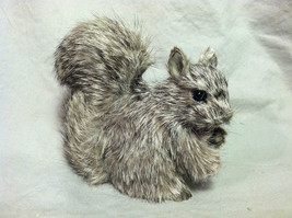 Gray Squirrel w/ fluffy tail Animal Figurine - recycled rabbit fur image 1