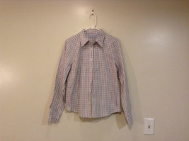 Gray with White and Dark Gray Plaid Button Front Shirt Gloria Vanderbilt Size L