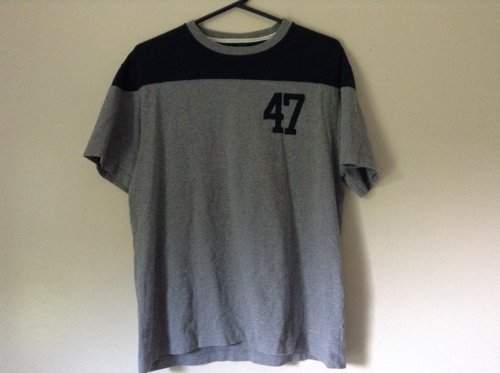 Gray T Shirt with Number 47 in Blue on Front GAP Size Large 100 Percent Cotton