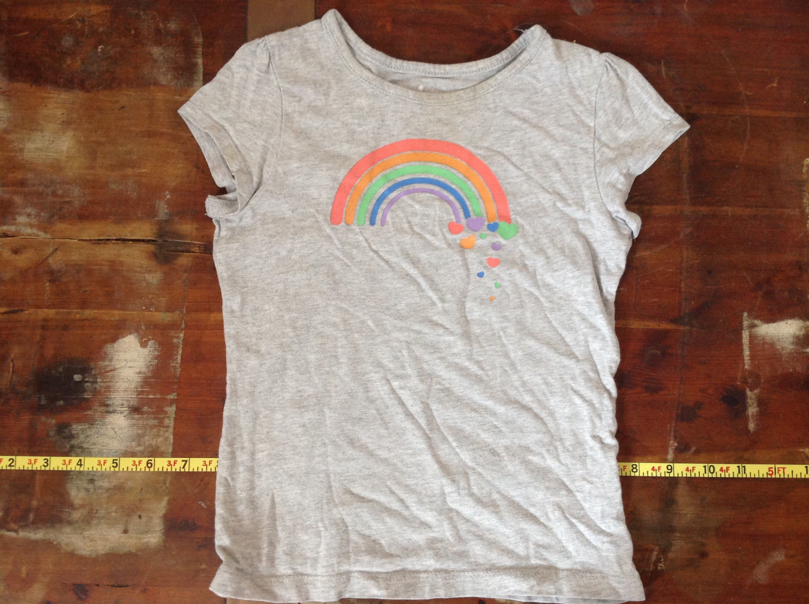 Gray Short Sleeve Shirt with Rainbow Design by Circo Size 6 to 6X