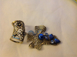 Gold Tone Cross Shape with Light and Dark Blue Crystals Scarf Pendant 4 Inches image 5