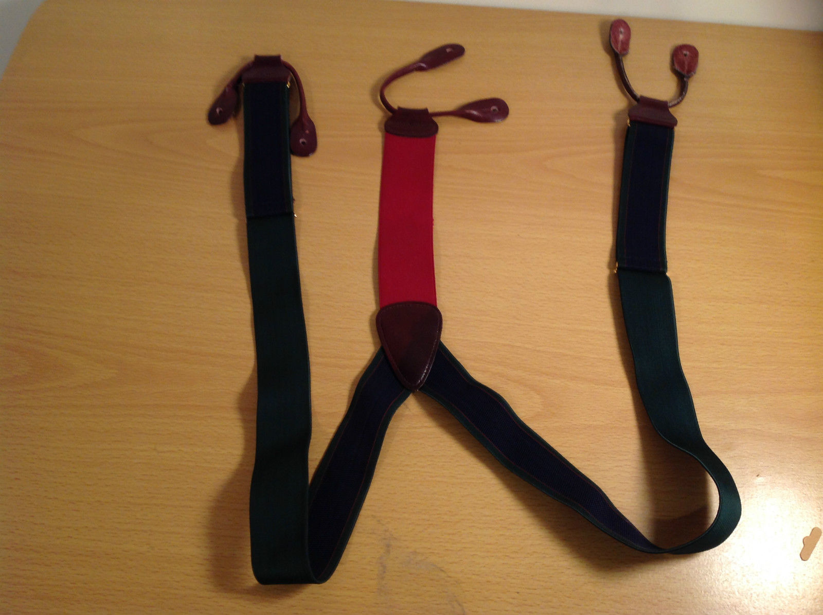 Green Blue Red Trafalgar Stretchy Suspenders Leather Ends Adjustable