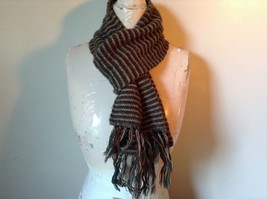 Green Brown Tan Long Scarf with Tassels 60 Inches Long 7 Inches Wide