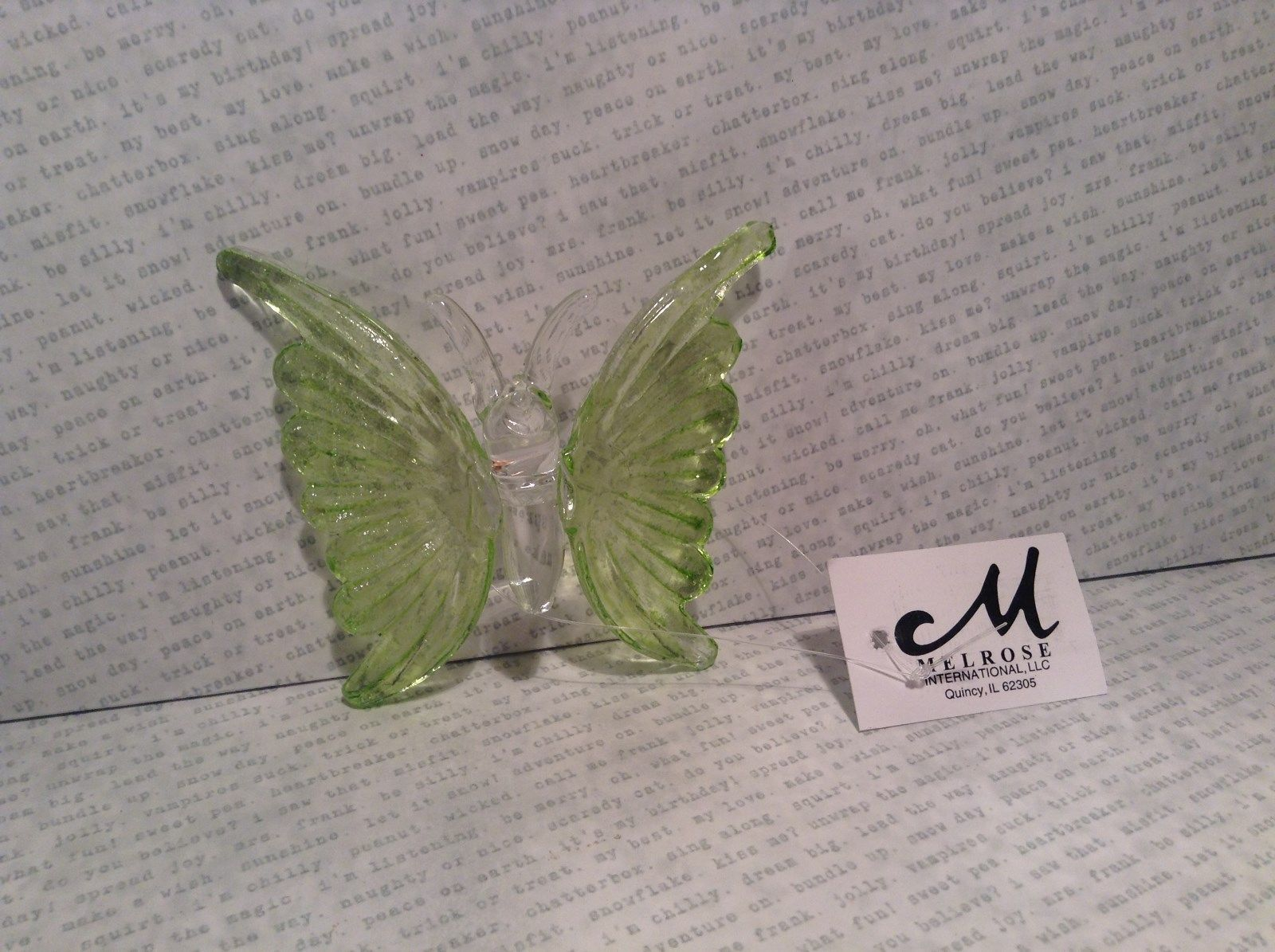 Green Butterfly Ornament 3 Inches Long 100 percent glass