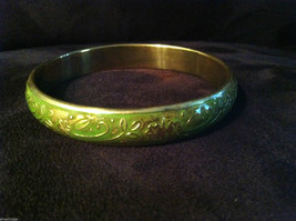 Green Brass Bracelet with Floral Design Under Shiny Enamel hand made
