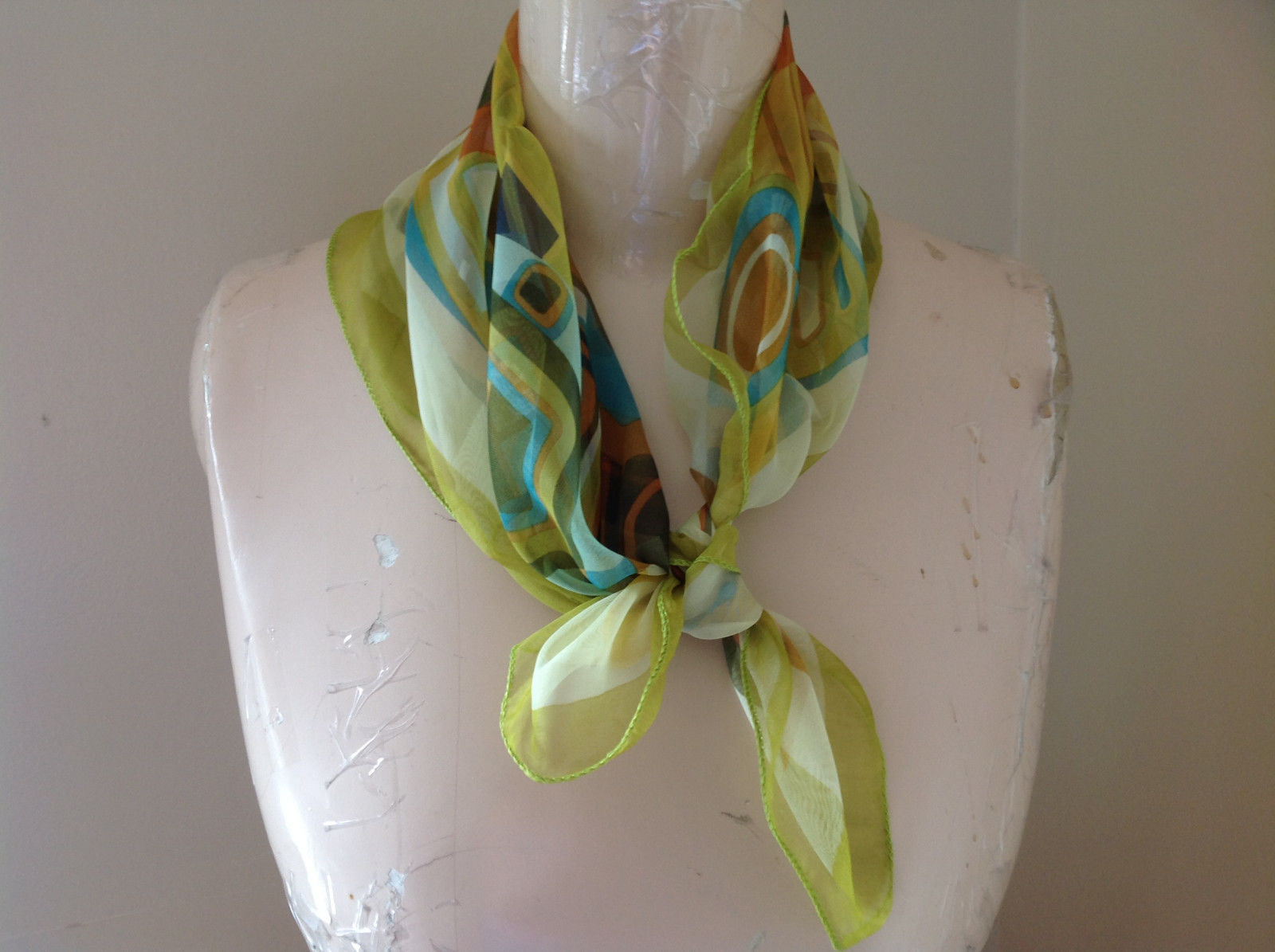 Green Blue Orange Square Scarf Light Weight Material Hanfei