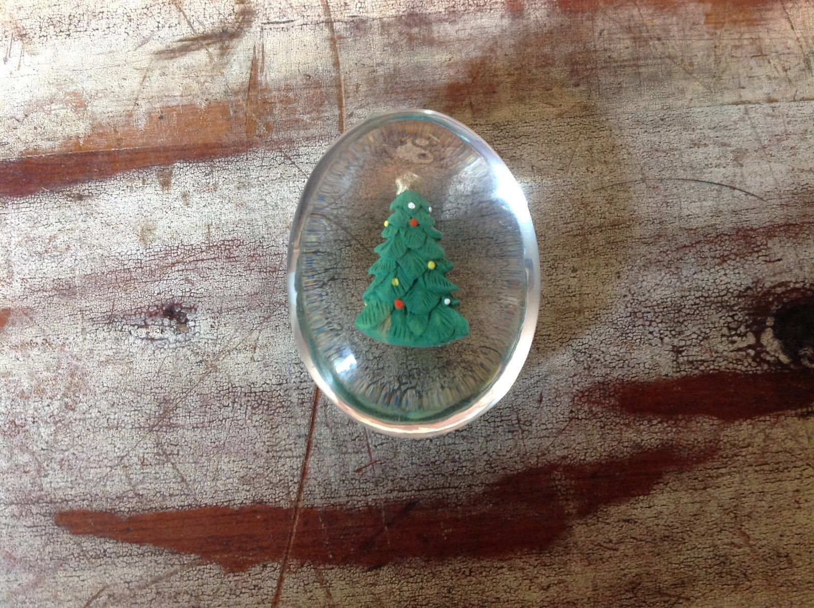 Green Christmas Tree Inside Clear Touch Stone