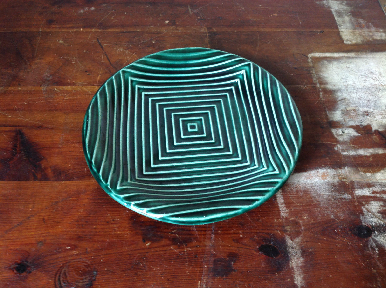 Green Ceramic Artisan Handcrafted Plate Saucer Relief Square Pattern